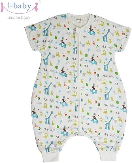 i-baby Saco Dormir Bebe con Pies Infantil Pijama Manta con Mangas Cortas Verano Algodón Gasa Niños Niñas 1 2 3 4 Años Patrón Animal Lindo: Amazon.es: Bebé