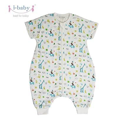 i-baby Saco Dormir Bebe con Pies Infantil Pijama Manta con Mangas Cortas Verano Algodón