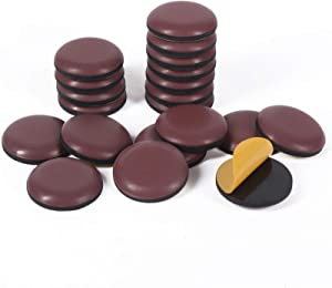 GINOYA Stick Furniture Sliders, 20pcs 1inch Teflon Furniture Glides for Carpet Tile Hardwood (Coffee)