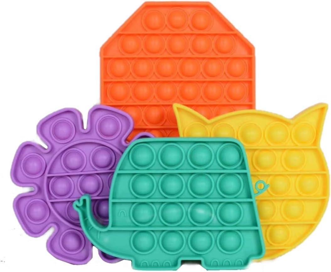 4 Packs Push Pop Poop it Fidget Toy Rainbow Poppop Fidgettoys Sensory Anxiety Stress Relief Satisfying ADHD Cheap Popitsfidgets Bubble Figetget Big Popitz Popper Po Poppits Figit Set