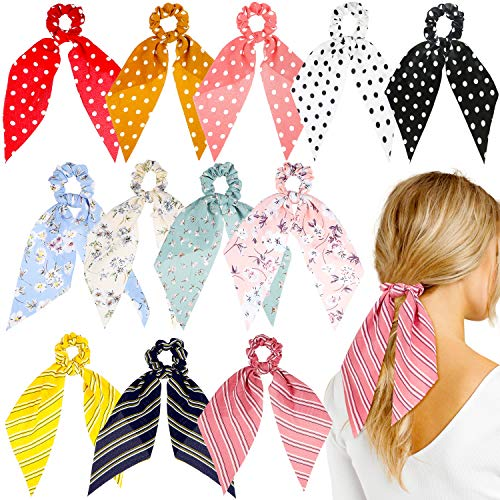 (WATINC 12 Pcs Bowknot Hair Scrunchies Chiffon Floral Scrunchie Scarf Hair Ties 2 in 1 Vintage Ponytail Holder with Bows Flower Stripe Hair Scrunchy Accessories Ropes for Women )