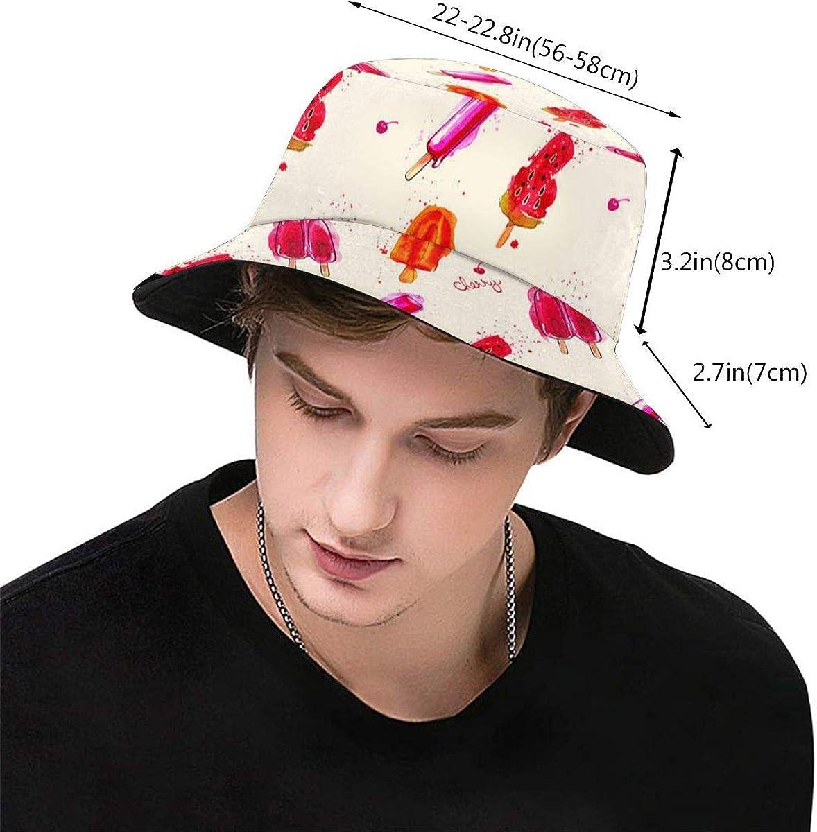 XicoLtd Watercolor Ice Cream Popsicle Seamless Fisherman Hat Bucket Hat Sun Hats Beach Hat Packable