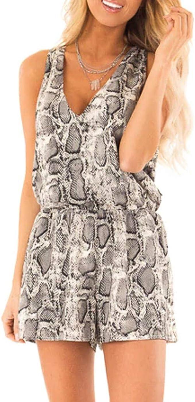 Amlaiworld Donna Manica Corta Playsuits Tuta Elegante Pantaloni Lungo Jumpsuit Vestito Abito Cerimonia da Donna