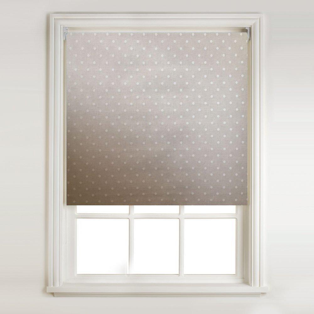 Natural Linen Dot Thermal Blackout Roller Blind (width: 2ft (61cm)) Barnes Textiles