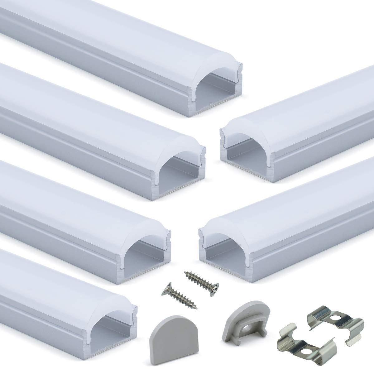 Muzata 6-Pack 3.3ft/1Meter 9x17mm U Shape LED Aluminum Channel System with 60° Curved plexiglass Transparent U107,Series LU2 LN1 by Muzata