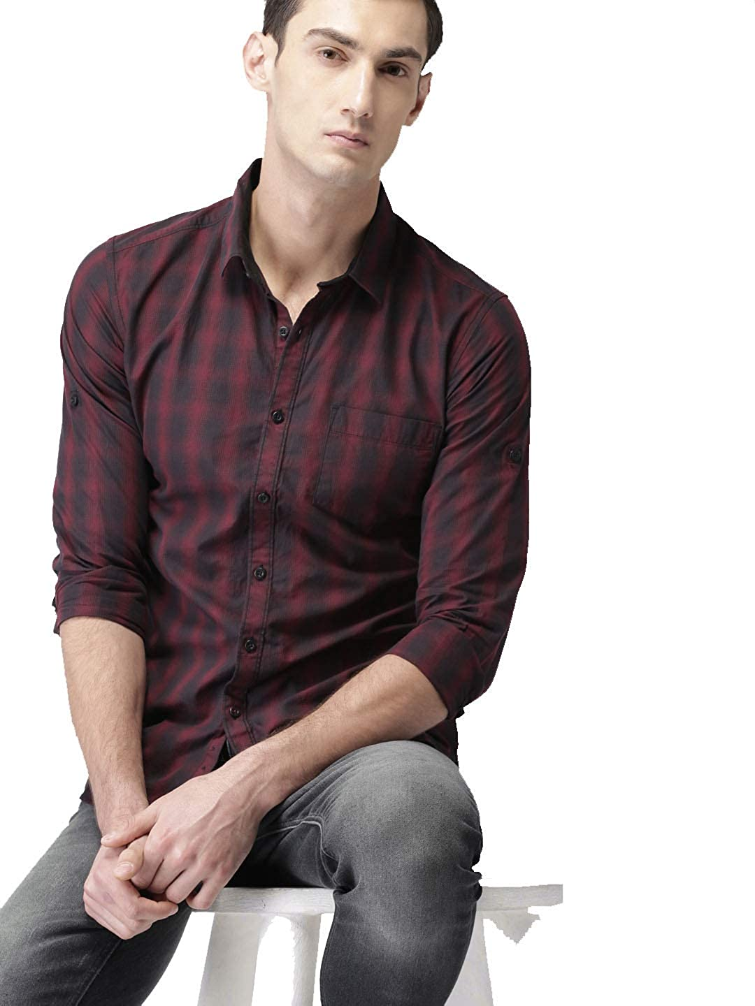 Dream Angel Fashion Men Black /& Maroon Slim Fit Checked Long Sleeves with roll-up tab Feature Casual Shirt