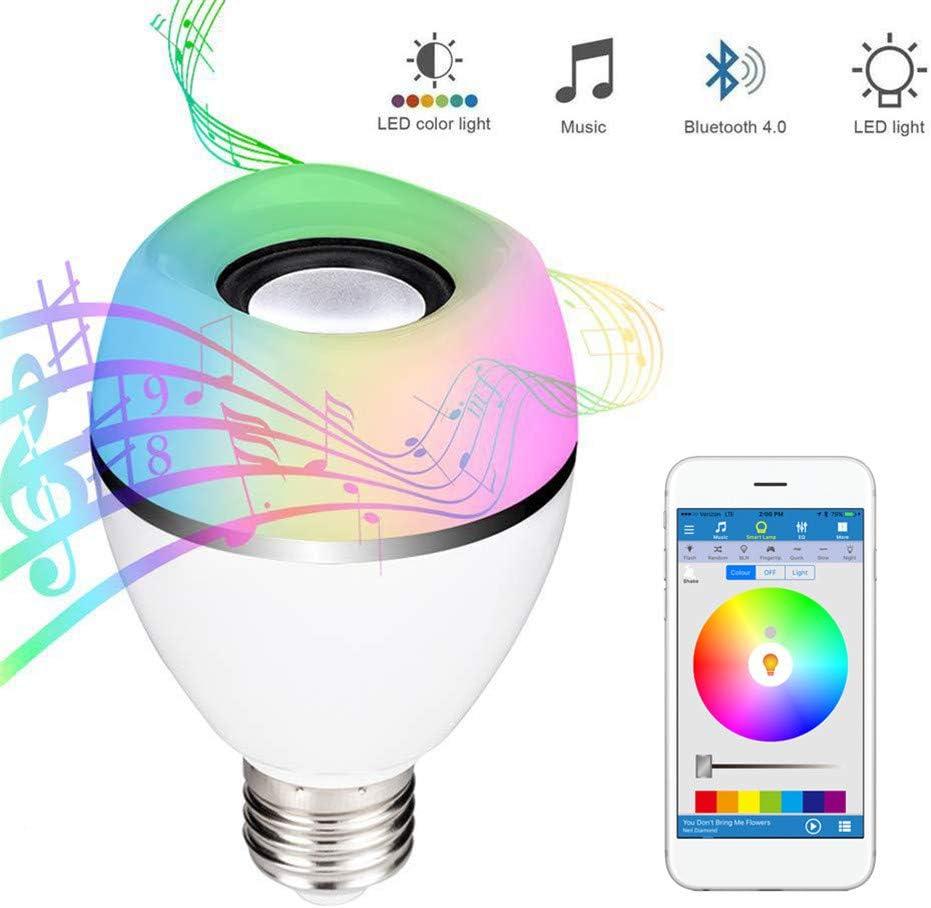 S2Y Bombilla De Luz LED para Música, E27 Bayoneta Base De Bombillas De Cambio De Color, Altavoz Inalámbrico Bluetooth Rose 4.0 para Bar Party KTV Mood Ambiance Lighting