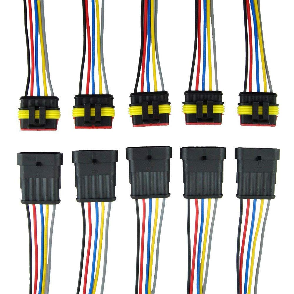 ZYTC 5 Pin Way Car Auto Waterproof Electrical Connector Plug with Wire AWG Marine Pack of 5 ZYTC Company