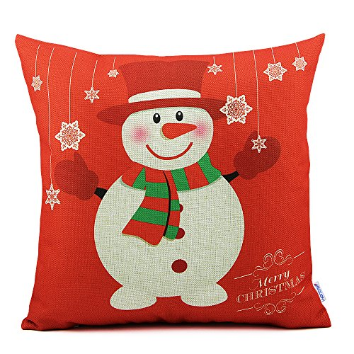 Homar Throw Pillow Covers - Snowman Print Pattern Christmas Decorative Pillow Case - Cotton Linen Material Square Pillowcases Red Standard Size 18 x 18 for Girls Boys Kids