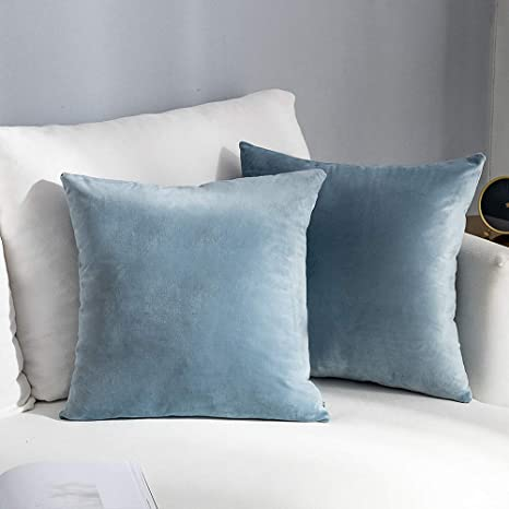 Amazon Com Nanpiper Decorations Velvet Soft Decorative Square Throw Pillow Sofa Cover Cushion Covers Pillowcase Home Decor For Couch And Bed 18x18 Inch 45x45 Cm Silver Blue Set Of 2 Kitchen
