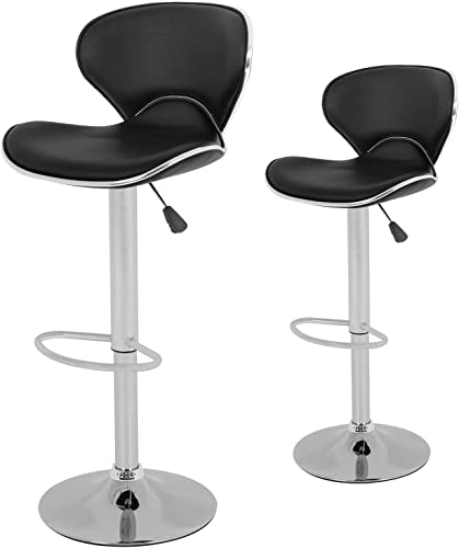 Set of 2 Adjustable Bar Stools Height Ajustable Swivel Barstools Chairs