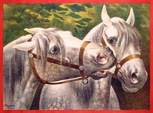 Two Dapple Grey Horses Vintage Poster England