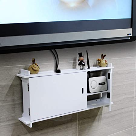 Estante Flotante Estante de Pared Set Top Box Estante de Almacenamiento del Router Caja de oclusión zócalo Estantería de Pared para televisor Fondo de TV decoración de Pared Estante (Color : A):