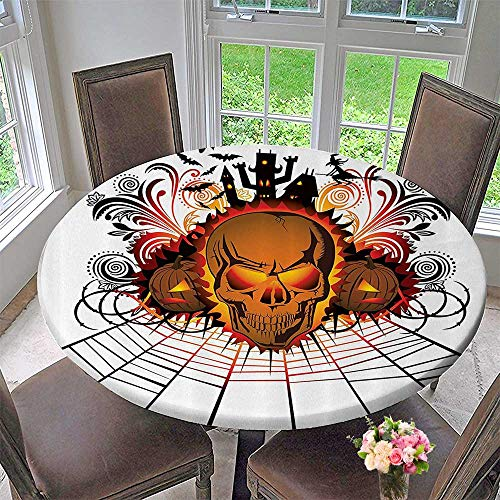 Mikihome Chateau Easy-Care Cloth Tablecloth Kull ce Bfire Effect Spirits of Other World Ccept Bats and Spider Web Halloween 50