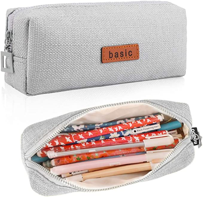 Dark grey Linen pouch  pencil case waxed canvas and leather