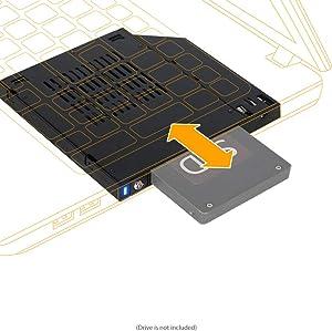 "ICY DOCK 2.5"" SATA SSD/HDD Hot Swap 2nd SSD HDD Docking Adapter Caddy Case for CD DVD-ROM Slim ODD Bay Laptop (12.7mm) - flexiDOCK MB511SPO-B"