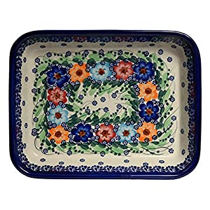 Traditional Polish Pottery, Lasagna Rectangular Casserole Baking Dish 10in / 25.5cm, Boleslawiec Style Pattern, O.101.Garland