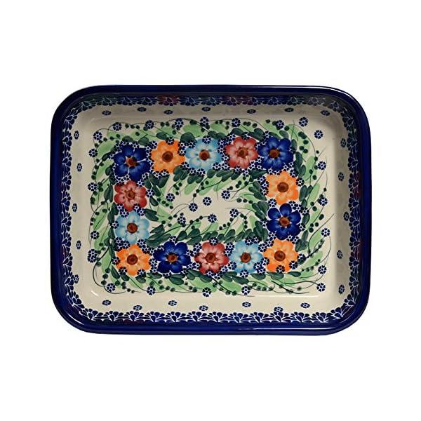 Traditional Polish Pottery, Lasagna Rectangular Casserole Baking Dish 10in / 25.5cm, Boleslawiec Style Pattern, O.101.Garland