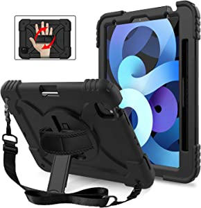 MENZO New iPad Air 4 Case with Shoulder Hand Strap, 3-Layer Rugged Protective iPad Air Case with Pencil Holder Stand for iPad Air 4th Generation 10.9-inch/Pro 11 inch 2020 2nd Gen/2018 1st Gen, Black