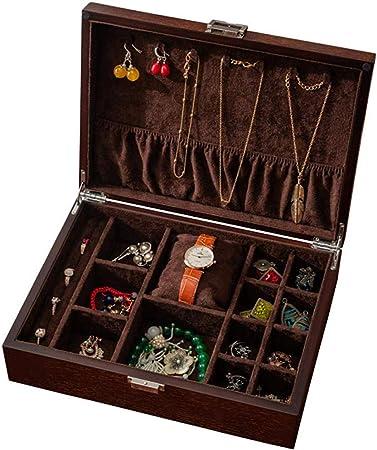 MU Joyería de madera caja de reloj Cajas Regalo Hombre Mujer Viaje antiguos del reloj de la joyería collar pendientes caja de almacenamiento 300 * 220 * 85mm: Amazon.es: Bricolaje y herramientas