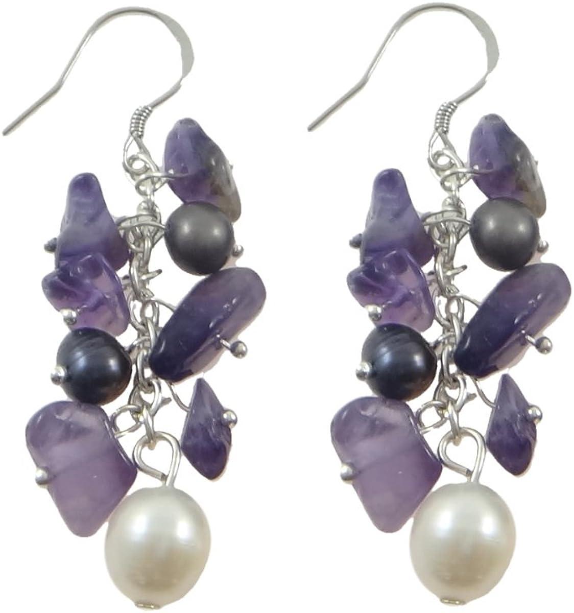 Perlas cultivadas de agua dulce pendientes con colgantes, con amatista, natural, multicolor, 15x52mm, 6-7mm