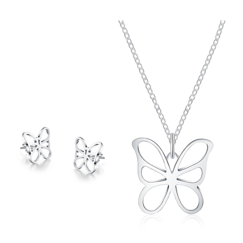 Majesto 925 Sterling Silver Butterfly Pendant Necklace Stud Earrings Set For Women Teen Girls Prime Gift