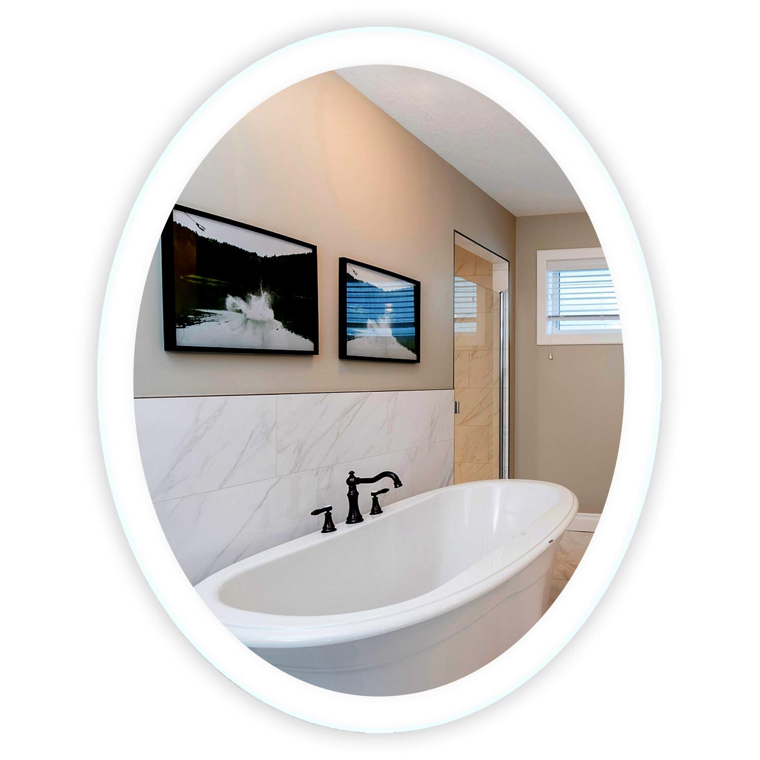 LED Side-Lighted Bathroom Vanity Mirror: 32'' Wide x 40'' Tall - Commercial Grade - Oval - Wall-Mounted by Mirrors and Marble