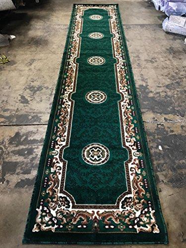 Green Persian Runner - Traditional Long Runner Area Rug Hunter Dark Green Persian Kingdom Design D123 (2 Feet 4 inch X 10 Feet 11 inch)