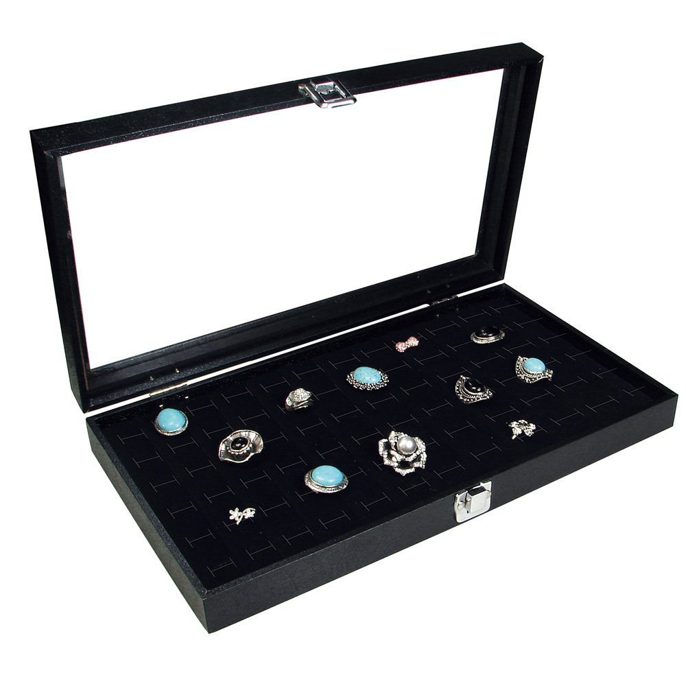 Ikee Design Glass Top Black Jewelry Display Case with 72 Slot Ring Tray 14 3 4 W x 8 1 4 D x 2 1 8 H