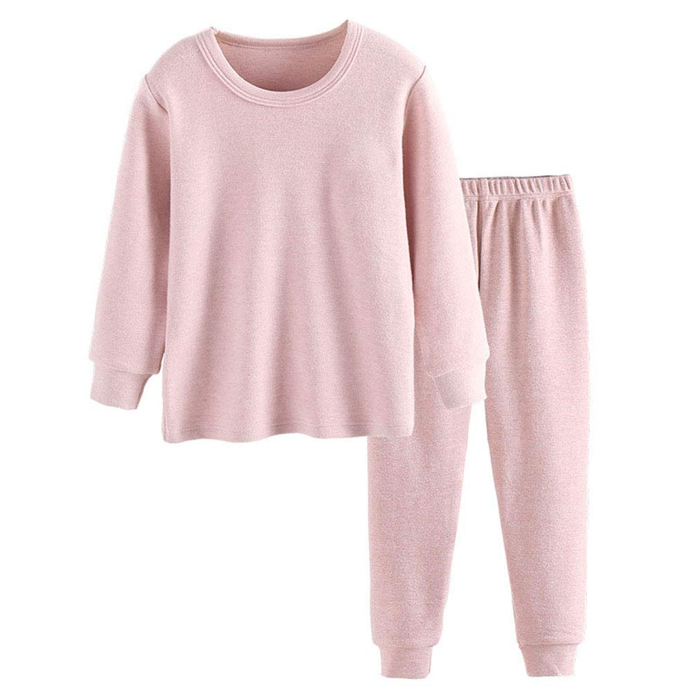 2PCS Kids Thermal Underwear Long Johns Set Toddler Boys Girls Pajamas Cotton Warm Base Layer Suits for 3-8Years