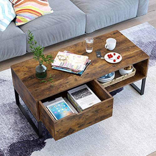 Homfa Coffee Table for Living Room TV Stand with Metal Leg, Accent Cocktail Tea Table Sofa Side Table 2 Tier with Storage Shelf and 1 Drawer, Mid-Century Vintage Furniture for Home Office