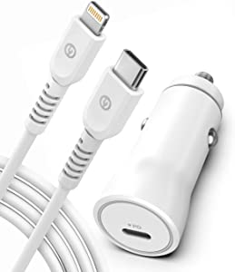 Galvanox Ultra-Fast iPhone Car Charger | MFi Apple Certified Lightning to USB-C Cable | Includes Rapid Charging 18W Car Power Adapter (Compatible with iPhone 11/11 Pro/11 Pro Max/12/12 Mini and More)