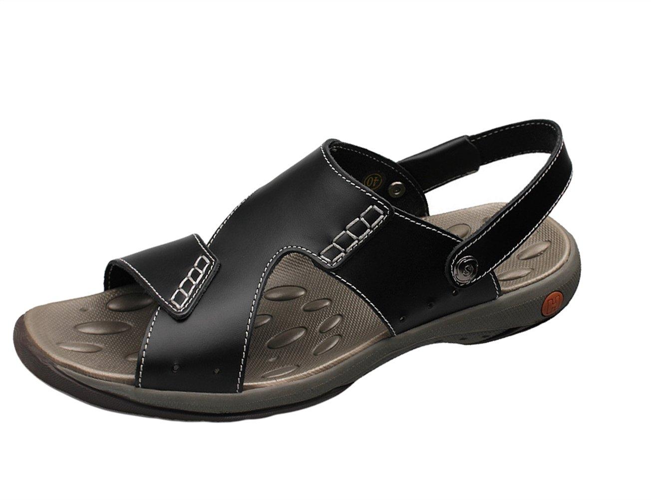 Insun Sandalias Para Hombre Cuero Casuales Sandalias Playa Zapatos 45 EU Negro