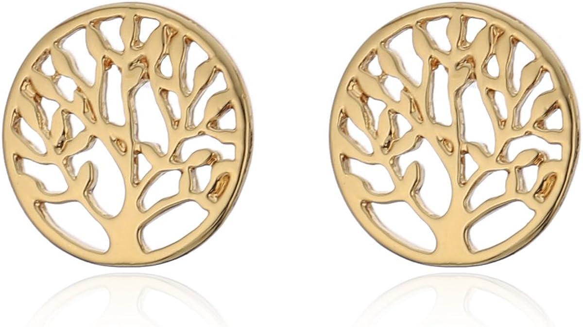 Pendientes de tuerca para mujer, diseño de árbol de la vida, pendientes de tuerca de plata y pendientes pequeños de acero inoxidable