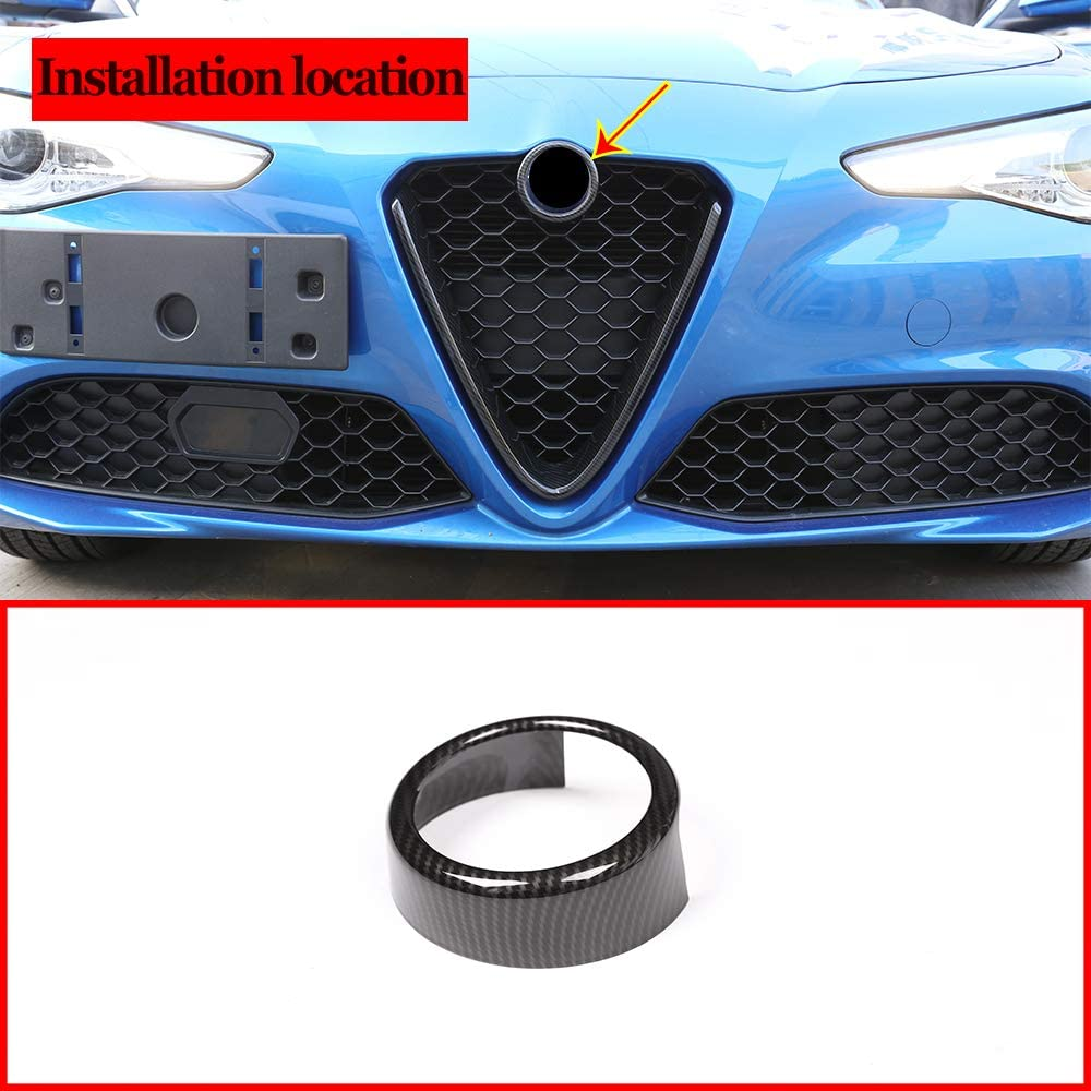 Frosted Red ABS Plastic Front Grill Decoration Frame Trim for Alfa Romeo Stelvio 2017 2018 2019 Parts (NOT Applicable for Giulia, Quadrifoglio) (Style A)