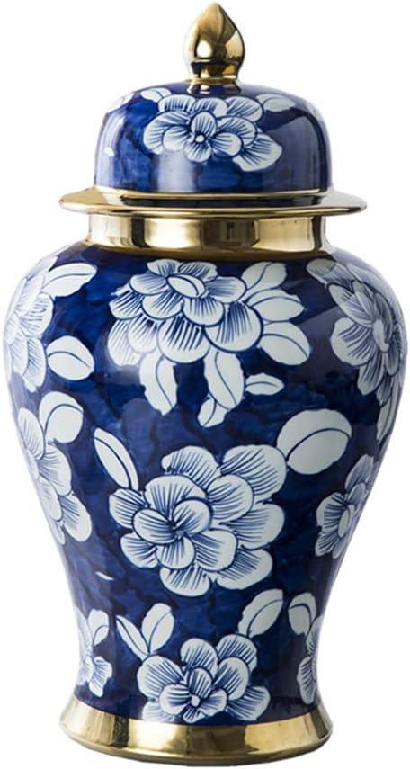 Antique Traditional Porcelain Vase Ceramic Decorative Vases Blue and White Porcelain Temple Jar Vase China Ming Style Antique Decorative Artwork-a H40cmx21cm