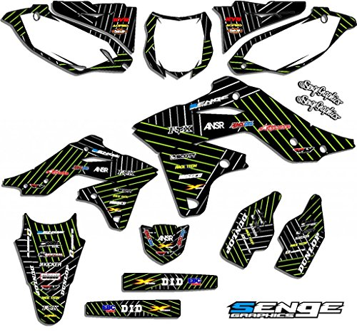 Senge Graphics kit compatible with Kawasaki 2002-2009 KLX 110, Race Series Black Graphics Kit ()