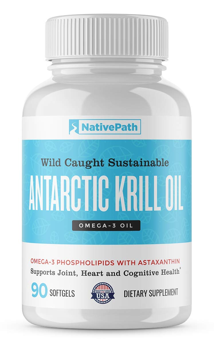 Native Path Antarctic Krill Oil- Rich with Omega 3, Vitamins A, E, B9, B12, Including Choline, Phospholipids and Astaxanthin, Benefits The Immune System, Mood, and Memory (90 softgels per Bottle) by NativePath