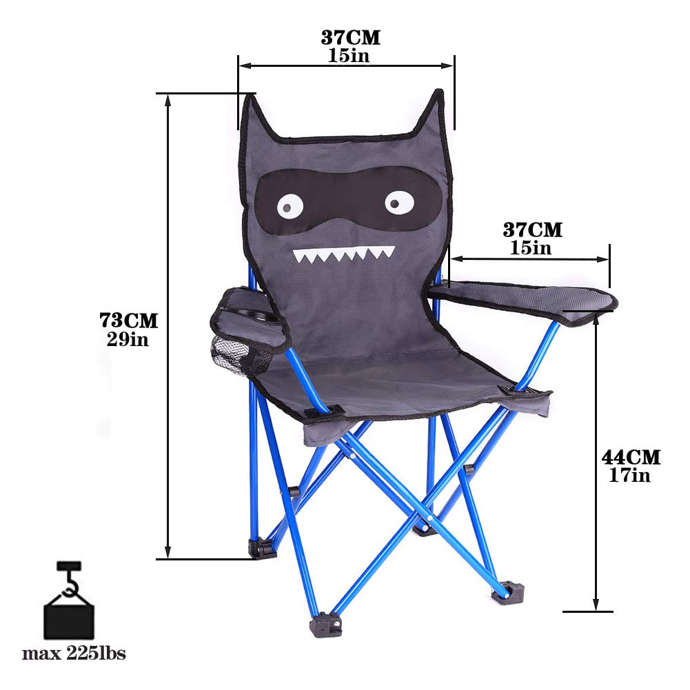KABOER Kids Outdoor Folding Lawn and Camping Chair with Cup Holder, Little Devil Camp Chair by KABOER (Image #2)