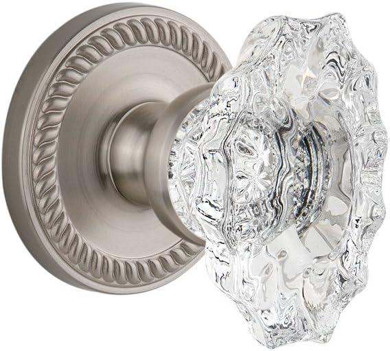 Satin Nickel 2.375 Grandeur Newport Rosette with Biarritz Knob Privacy