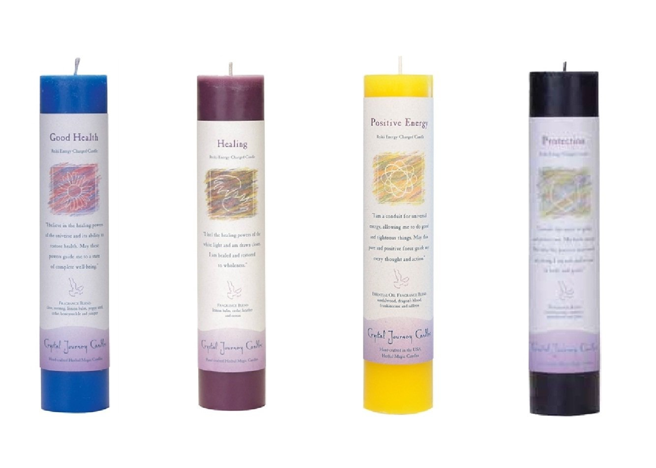 Crystal Journey Reiki Charged Herbal Magic Pillar Candle with Inspirational Labels - Bundle of 4 (Good Health, Healing, Positive Energy, Protection) Each 7''x1.5'' handcrafted with lead-free materials