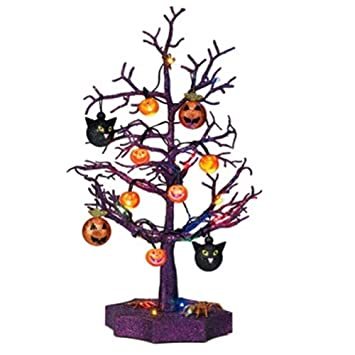 Avon Halloween Led Sparkle Tree With Cats Pumpkins And Spiders 19