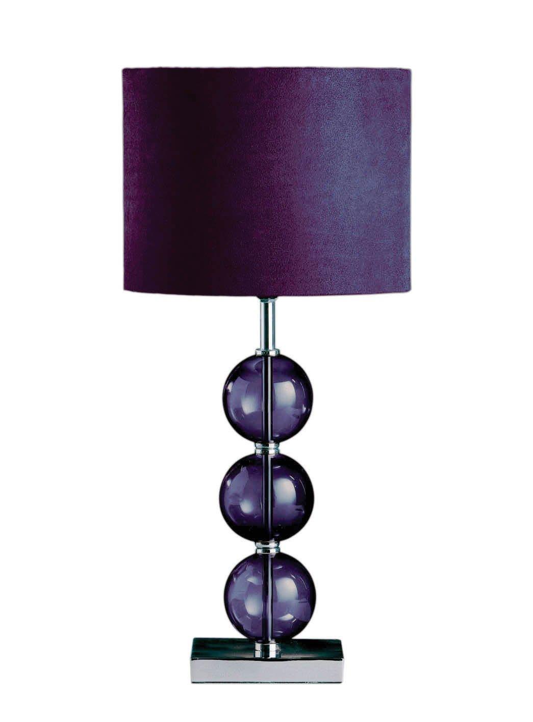 Premier housewares mistro purple table lamp with 3 glass balls premier housewares mistro purple table lamp with 3 glass balls chrome base and faux suede shade amazon lighting geotapseo Gallery