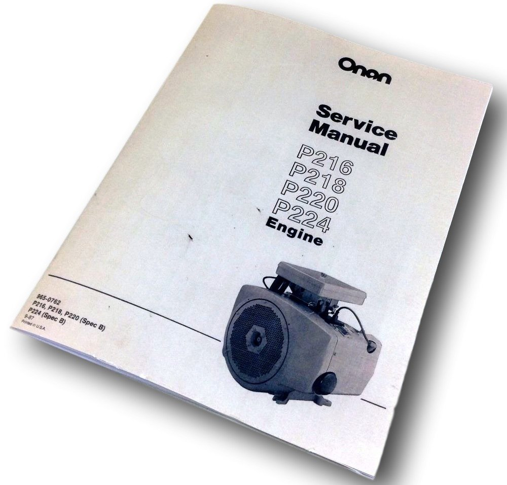 Amazon.com: Onan P216 P218 P220 P224 Engine Service Repair Manual Overhaul  Shop: Industrial & Scientific