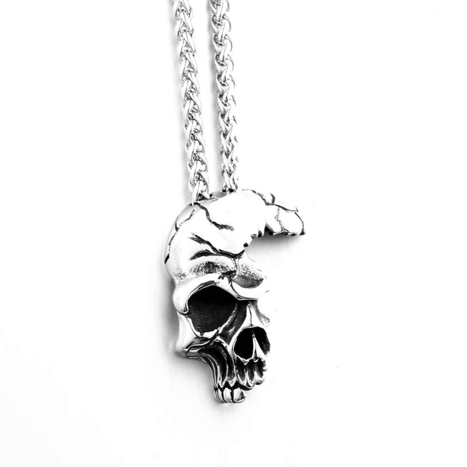 Elegant-Store-A Ugly Punk Half Skull face Necklace Stainless Steel Man Pendant Unique Party Jewelry Titanium Steel Gift