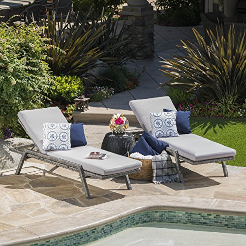 Cheap Fiora Patio Furniture | Outdoor Chaise Lounge | Aluminum Frame | Premium Wicker | Water Resistant Cushions (Grey) (Set of 2)