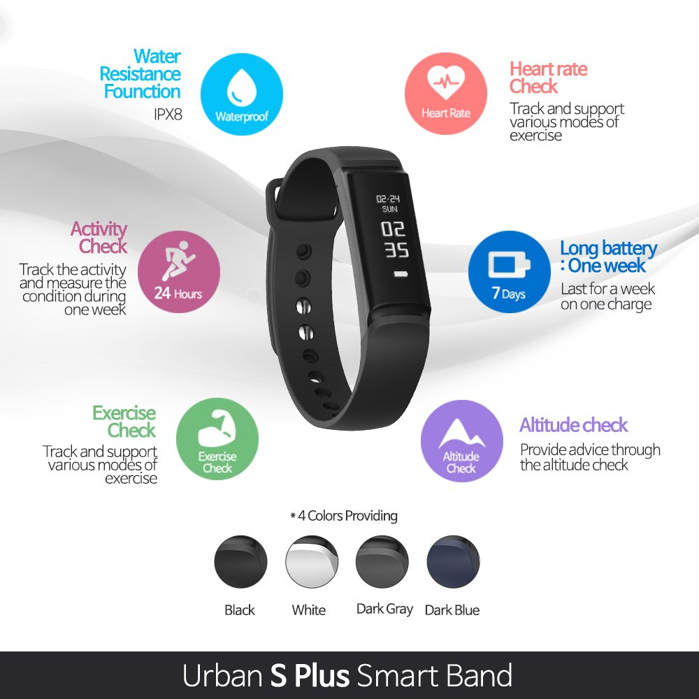 Amazon.com: Urban S+, PWB-250 Fitness Band Activity Tracker with HRM Heart Rate Monitor Sleep Monitor Steps Pedometer Distance Exercise IP68 Waterproof ...