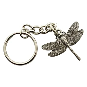 Amazon.com: Llavero, diseño de libélula ~ Antiqued peltre ...