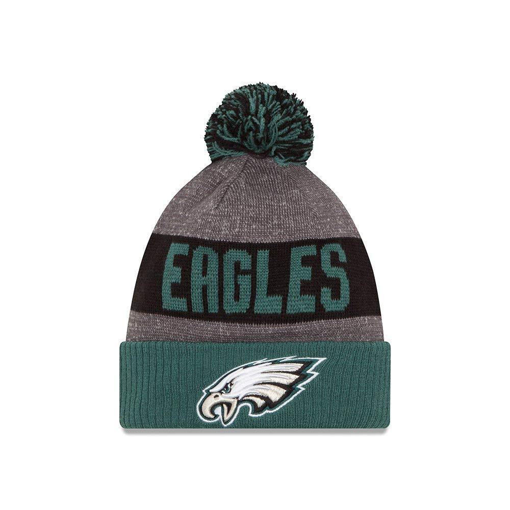 3f15da241 New Era Knit Philadelphia Eagles Green On Field Sideline Sport Knit Winter  Stocking Beanie Pom Hat Cap 2015