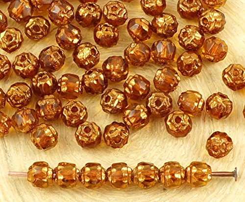 50pcs Crystal Yellow Topaz Metallic Gold Czech Glass Cathedral Faceted Fire Polished Beads Christmas 4mm